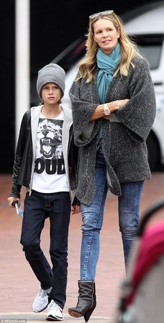 Bonding time: Elle Macpherson enjoyed a day out in Sydney with 12-year-old son Aurelius on Sunday