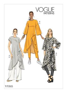 Vogue Patterns - New Sewing Patterns - Spring Vogue Patterns, Free Sewing, Vintage Sewing Patterns, Clothing Patterns, Tunic Sewing Patterns, Tunic Pattern, Pattern Sewing, Jacket Pattern, Patron Vintage
