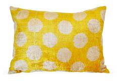 Dot 16x24 Silk-Blend Pillow, Yellow
