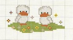 Αποτέλεσμα εικόνας για ponto de cruz patinho Cross Stitch Animals, Stitch 2, Owls, Easter, Birds, Character, Laying Hens, Stuff Stuff, Punto Cruz
