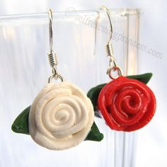 Paint the Roses Red Earrings by SelfRescuingPrincess on Etsy, $8.00