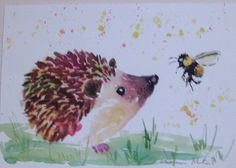 Hedgehog and Bumble bee Original watercolour painting Size A4 by Casimira Mostyn