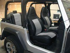 Jeep Wrangler TJ Sahara 1997 2002 Black Grey Iggee s Leather Seat Cover | eBay