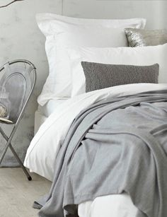 Grey and White bedroom, bliss Grey And White Bedding, Grey Bedding, White Bedroom, Dream Bedroom, Luxury Bedding, Master Bedroom, Bedroom Decor, Bedding Sets, White Duvet