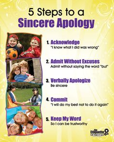 5 steps to a sincere apology - Etiquette Courses/Lesson Book - Children Manners Activities - The Etiquette Factory Behaviour Management, Classroom Management, Social Work, Social Skills, Manners Activities, Etiquette And Manners, E Mc2, Character Education, Conflict Resolution