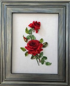 Painting with roses. Hand-embroidered ribbons. The size of the embroidery is 25/18 cm. I sent your order. Care of the embroidery is minimal, it can be washed in manual mode, straighten and dry, you can iron only the fabric free from embroidery. If the embroidery is wrinkled, then wet