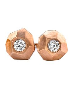 rose gold carved studs from ron hami.  j'adore!