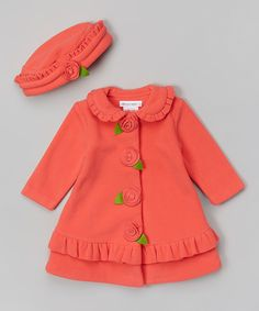 Look at this Coral Flower Hat & Coat - Infant, Toddler & Girls on #zulily today!