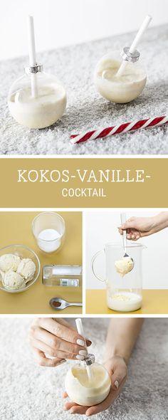 Rezept für einen süßen Cocktail mit Kokos und Vanille, Cocktailparty / recipe for your next cocktail party: cocktail with coconut and vanilla via DaWanda.com