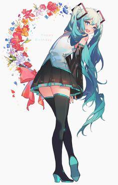 """I'm late but Happy birthday to Miku 🎉"" Anime Chibi, Anime Art, Vocaloid Characters, Loli Kawaii, Beautiful Anime Girl, Asuna, Manga Girl, Cute Drawings, Cute Art"