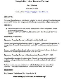 for more sample resumes of recruiters visit wwwresumeformatorgrecruiter - Tips On Writing Resume