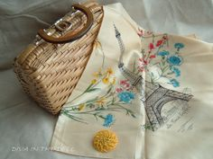 Awesome Vintage Hand Made Wicker Basket Handbag made in British Hong Kong and Tour De Paris Scarf - DivaInTheDell - SOLD