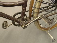 "Lot # : 	685 Estimate : 	300.00 - 400.00 USD Description : 	  C. 1890's ""The America"" female pneumatic safety bicycle. Manufactured by ""America Cycle Manufacturing Company Chicago"". Retains wooden skirted rear fender, period saddle, ""EM Co."" bell, matching cork grips, matching pedals, original paint with pin striping, ""Elizabethtown"" white tires, retains coaster pegs. Good original condition."