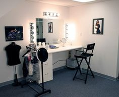 professional  makeup room   Make-Up Room - Large area with a 6' counter, lights, mirror and cloths ...