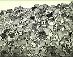 The Village Drawing  - The Village Fine Art Print