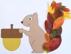 Squirrel paper craft for preschool, kindergarten and elementary school children to decorate with leaves. Autumn Crafts, Fall Crafts For Kids, Autumn Art, Toddler Crafts, Autumn Leaves, Kids Crafts, Leaf Crafts, Tree Crafts, Paper Crafts