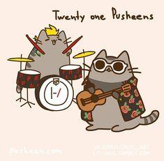 Pusheen starts a band. Twenty one Pusheens! (Twenty one Pilots) Tyler Joseph, Tyler E Josh, Twenty One Pilot Memes, Twenty One Pilots Art, Twenty One Pilots Dibujos, Ukulele, Chat Kawaii, Pusheen Cat, Indie Pop