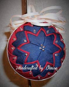 Houston Texans ~ Quilt looking fabric ornaments made by Handcrafted by Denise