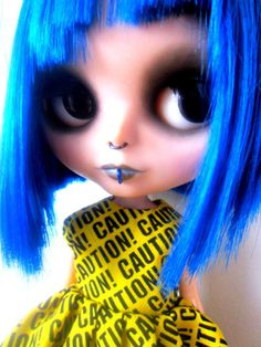 Yellow and Black CAUTION Tape Dress for Blythe