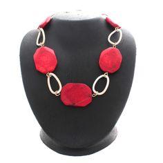"""Susan Graver Goldtone Simulated Coral Gemstone 18"""" Link Necklace  #SusanGraver #Link"""