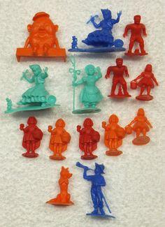 Vintage MARX Nursery Rhyme Figures 14 Piece Lot Mid Century Plastic Play Set