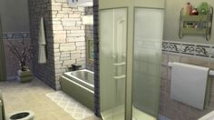 Another angle of the modern stone bathroom