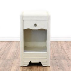 This Nightstand Is Featured In A Solid Wood With White Finish Art Deco