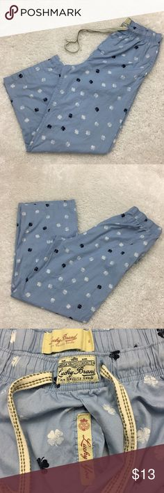 """Lucky Brand men's pajama, clover prints, blue, XL Lucky Brand men's pajama with drawstring and pockets. Clover prints in blue color.  Size XL Waist laid flat 16"""" Rise 14"""" Seam 29"""" Approximate only.  Excellent condition, almost new.  No stains or holes.  Freshly washed.  Stored in a smoke and pet free household.  Please see all pictures in details or ask any questions to avoid return.  Check out my store for other items on sale! Lucky Brand Other"""