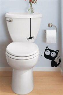 Muursticker Kat en Spin<BR>Zwart