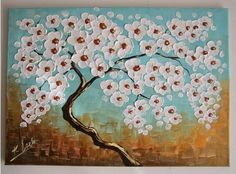 Abstract Tree Original Oil Painting White Flowers IMPASTO Modern Europe Artist #Abstract