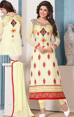 Awesome Cream Salwar Kameez for Party