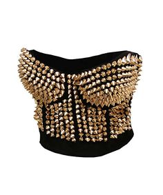 0a5fb28bc1 Amazon.com  Bslingerie Madonna Style Metallic Studs Bustier Bra Top (M