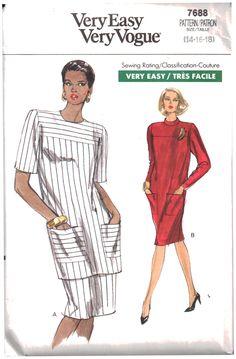 Vogue Sewing Pattern 7688  Misses/Misses Petite Dress, Tunic, Skirt  Size:  14-16-18  Uncut