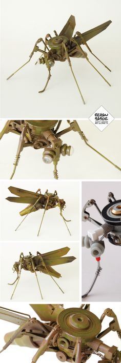 Recycle, handmade mosquito sculpture