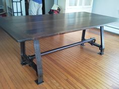 Walnut Top With Iron Base Salvaged From The Budd Plant In Philadelphia Le Tables