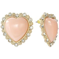 Candie's® Gold Tone Simulated Crystal Textured Heart Button Stud... ($6.60) ❤ liked on Polyvore