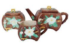 Antique Majolica Floral Tea Service