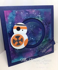 BB-8, Galaxy background, stampin Up, my paper oasis, star wars, sliding star framelits - My Paper Oasis