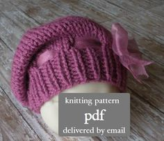 Slouch Hat, Beret, or Tam in 6 Sizes, Newborn thru Child, PDF Number 133 -- Permission to Sell Hats -- Over 13,000 patterns sold. $4.00, via Etsy.