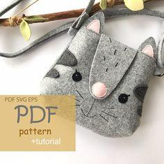 Kids Purse, Cat Purse, Cat Bag, Pouch Pattern, Purse Patterns, Felt Patterns Free, Bear Felt, Animal Bag, Diy Handbag