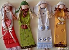 paper mache art dolls pretty little designs that could be used for an art installation or created for a splendid form of christmas decoration Polymer Clay People, Fimo Clay, Polymer Clay Projects, Clay Dolls, Art Dolls, Pottery Angels, Handmade Angels, Paperclay, Clay Creations