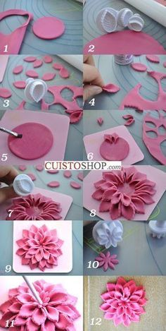 How to Make a Dahlia Flower in Sugar Paste Sugar Paste Flowers, Icing Flowers, Fondant Flowers, Cake Decorating Techniques, Cake Decorating Tutorials, Polymer Clay Flowers, Polymer Clay Crafts, Rose En Fondant, Fondant Flower Tutorial