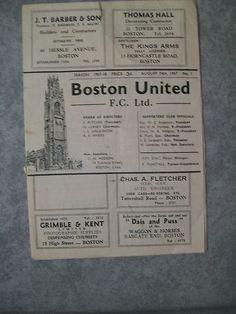 Away to Boston Utd  Midland League   24th August 1957