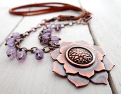 Purple+Lotus+Necklace+//+metalsmithed+copper+by+LostSparrowJewelry,+$50.00