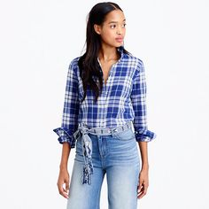 J.Crew+-+Tall+perfect+shirt+in+blue+crinkle+plaid
