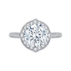 #Mia #Carizza 18K White Gold 7/8 Ct Diamond Carizza Boutique Semi Mount Engagement Ring fit Round Center QR0039K-40W