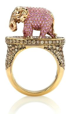 Side view of the Pink Elephant and Tipsy Writer ring, designed by Wendy Brandes. This piece was inspired by Jack London. Elephant Ring, Elephant Jewelry, Elephant Bracelet, Pink Elephant, Animal Jewelry, Old Jewelry, Jewelry Rings, Jewlery, Cat Ring