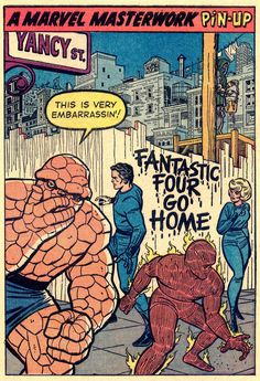Fantastic Four pin-up by Jack Kirby and Chic Stone