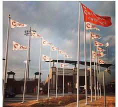 The flags are a blowin at Doug Kingsmore Stadium
