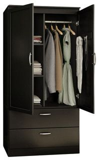 South Shore Acapella Transitional Style Wardrobe Armoire in Pure Black - Houzz (available in white too) Three Door Wardrobe, Wooden Wardrobe, Wardrobe Furniture, Wardrobe Cabinets, My Furniture, Bedroom Furniture, Furniture Design, Wardrobe Doors, Bedroom Cupboard Designs